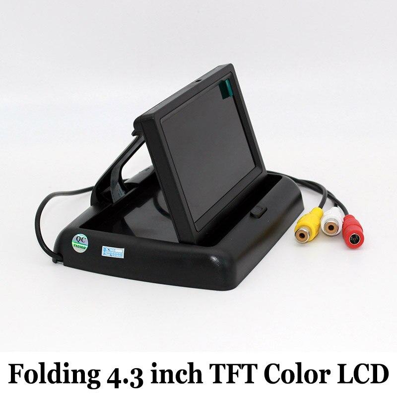 Pliage 4.3 Pouce TFT Couleur LCD HD Moniteur De Voiture Écran Parking Capteur Vidéo Moniteur Rétroviseur De Voiture De Sauvegarde pour Caméra de Recul