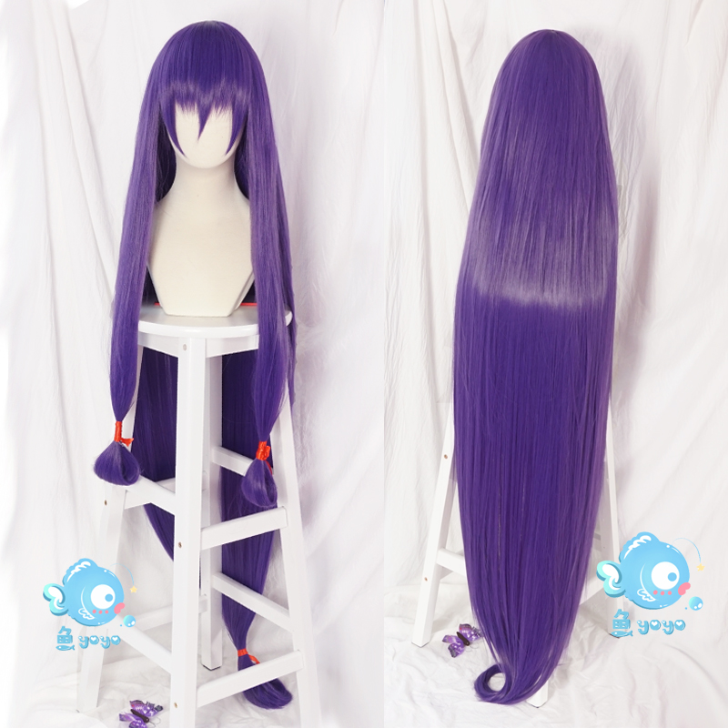 Adult FGO Fate Grand Order Cosplay Wig Servant Caster Nitocris Long Straight Purple Synthetic Hair