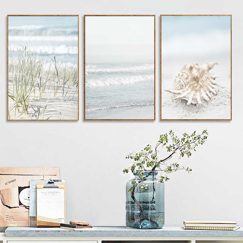 Nautical Landscape Poster Shell Seaweed Wall Art Ocean Wave Canvas Painting and Prints Bathroom Pictures for Living Room Decor