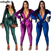 Open Back Velour Jumpsuits For Women 2018 Fall With Sashes Deep V Neck Velvet Rompers Puff Sleeve Bow Ribbons Lace Up Overalls