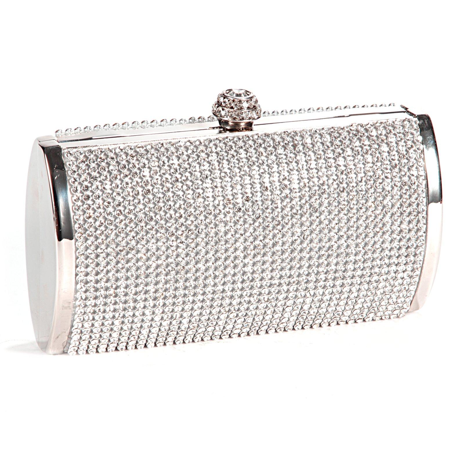 WCS Handbag Pouch Wallet Rigid Metallic Deco Rhinestones For Woman Girl Silvery