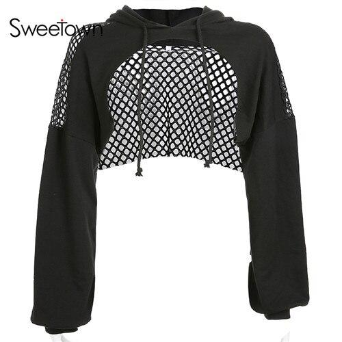 Sweetown Punk Long Sleeve Crop Top Hoodies Sweatshirts Women Black Mesh Fishnet Hollow Out Hip Hop Gothic Hoodie Rave Streetwear 7