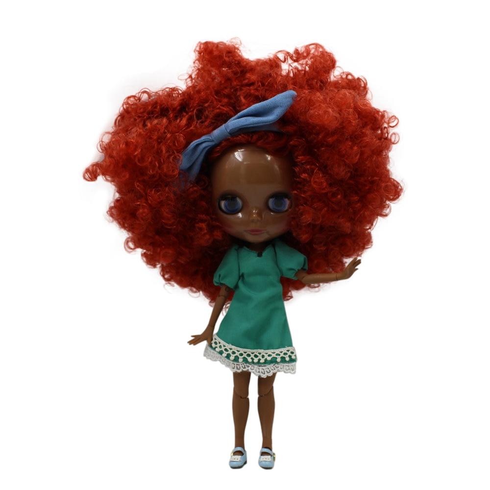 fortune days factory blyth doll super black skin tone darkest skin red brown hair joint body 1/6 30cm 280BLQE150 fortune days factory blyth doll super black skin tone darkest skin dark brown hair joint body 1 6 30cm bl0521