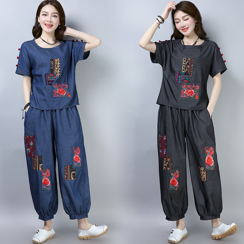 Summer Women's Sets National Style New Chinese Style Embroidery Tops+ Loose Bloomers Two-piece Large Size Denim Pants Suits