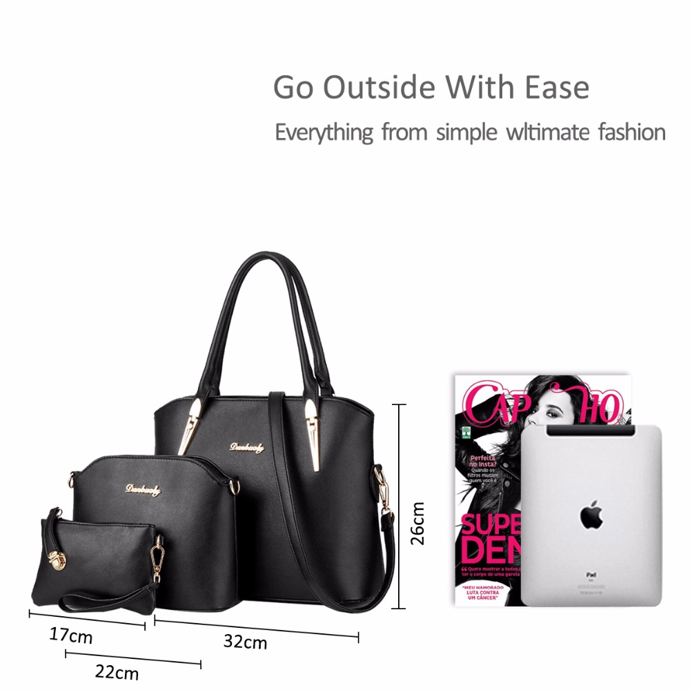 9453b0ad4a7e US $87.47 | NICOLE&DORIS New Women Bag Composite Bag Three piece Fashion  Handbag Female Shopping Bag Shoulder Bag -in Top-Handle Bags from Luggage &  ...