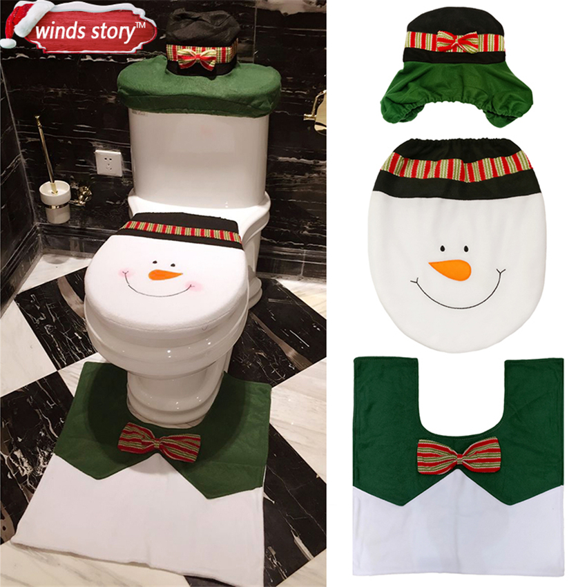 Christmas Bathroom Products 3pcs Set Xmas Decoration Lovely Snowman Toilet Seat Cover And Rug