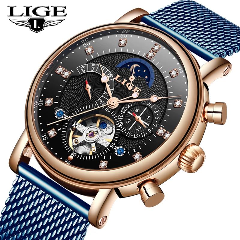LIGE 2019 business watch men Automatic Luminous clock men Tourbillon waterproof Mechanical watch top brand relogio masculino+BOX