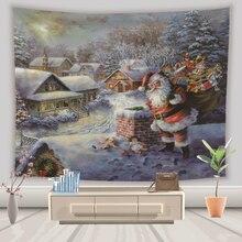купить Home Wall Tapestry Christmas Santa Claus Gift Painting Tapestry Wall Fabric Hanging Backdrop Living Room Throw Rug Blanket Tapiz по цене 622.36 рублей