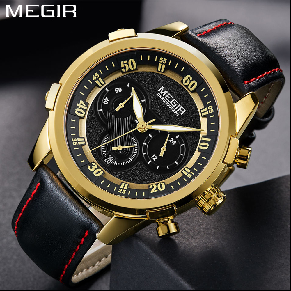 Megir Brand Fashion Gold Men's Chronograph Analog Quartz Watch Men 24 Hours Display Leather Strap Waterproof Wrist Watch for Man zhongyi w801 fashion alloy shell analog quartz wrist watch for men black rose gold
