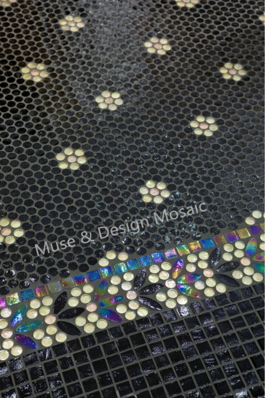 Iridescent Medallion Mosaic Wall Tile Floor Tile Black White Flower Kitchen Backsplash Waterproof Wallpaper Bathroom Waist