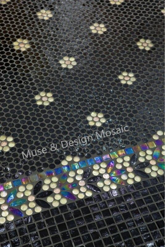 Iridescent Medallion Mosaic Wall Tile Floor Tile Black