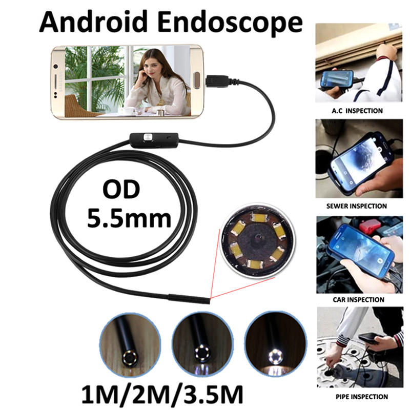 5.5mm Endoscope Android USB  1M 2M 3.5M OTG USB Phone Borescope Snake Inspection Camera USB Cam Endoscopio Pipe Tube Wistino 2m android otg usb endoscope camera 7mm lens ip67 waterproof snake tube inspection android phone pc usb dection borescope camera