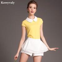 Elegant 2 Piece Set Women Shorts Set 2015 Tracksuit For Women Shorts Suit Yellow Short Sleeve