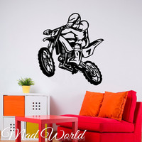 Mad World-Dirt Bike Sport Motor Road Silhouette Wall Art Stickers Wall Decal Home DIY Decoration Removable Decor Wall Stickers