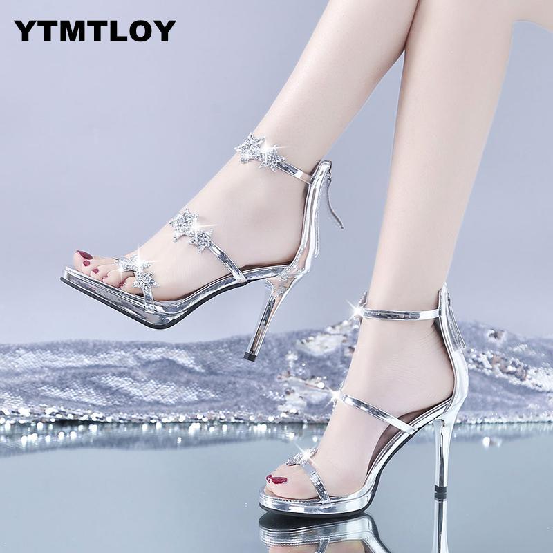 ¡Novedad! zapatos de tacón alto de cristal para mujer, zapatos de tacón alto sexis para mujer, Sandalias de tacón alto para fiestas, zapatos de boda para mujer