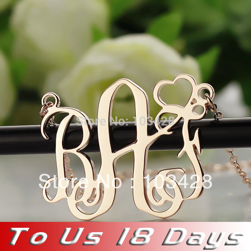Personalized 3 Initials Monogram Name Necklaces Rose Gold