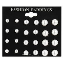 17KM 12 pairs/ set Simulated Pearl Earrings For Women Jewelry Bijoux Brincos Pendientes Mujer Fashion Stud Earrings(China)