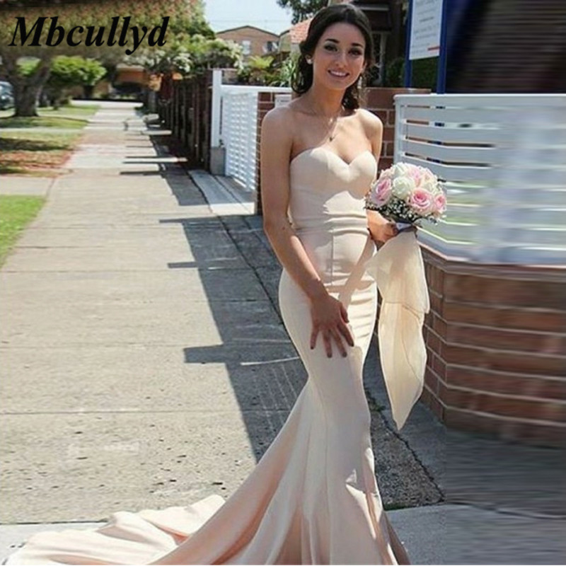 Mbcullyd Sweetheart Mermaid   Bridesmaid     Dresses   Ruffles Long 2019 Wedding Party Gowns Maid of Honor   Dress   Cheap robe de soiree