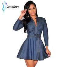 Summer Dresses 2015 Latest Design Women Clothes Sexy V Neck Long Sleeve Short Woman Denim Dress With S M L XL Sizes L27912