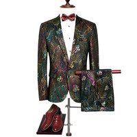 Loldeal Men's Peacock Pattern Wedding Suits Colorful Slim Sequin Suits Blazer And Pants New Fashion Luxury Wedding Party Suits