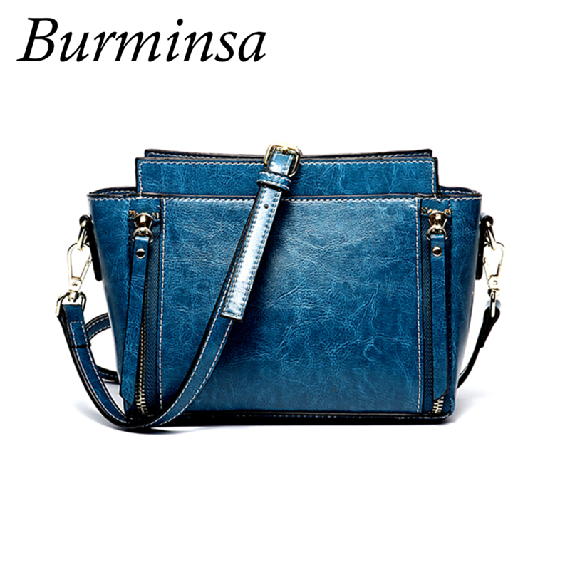 Burminsa Small Trapeze Genuine Leather Women Crossbody Bags Zoppers Decorated High Quality Oil Wax Girls shoulder Bags 2019-in Shoulder Bags from Luggage & Bags    1