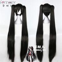 Hatsune black rock shooter Rakshasa MIKU long black straight hair double horsetail COSPLAY wig+Wig Cap