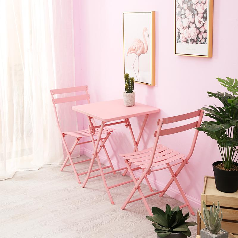 Net red tea shop table and chair combination Nordic pink fresh dessert coffee shop leisure balcony small table and chairs