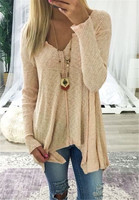 Fall 2017 Fashion Women Casual Blouses Autumn Winter Long Sleeve V Neck Tops Womens Clothing Plus