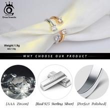 Women Real 925 Sterling Silver Open Design  AAA Zircon Adjustable Ring