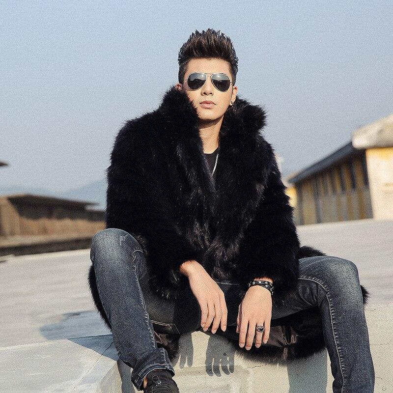 Casual Manteau Hommes Européenne Taille Veste Homme Plus Épais Spectacle Fourrure Fausse Manteaux Chaud Blue Long D'affaires En black D'hiver Punk 4xl L5cR34qAj