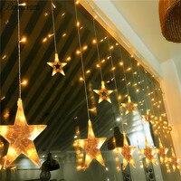 Bowarepro 2M 108 LED Romantic Fairy Star Led Curtain String Light Warm White Xmas Garland Light