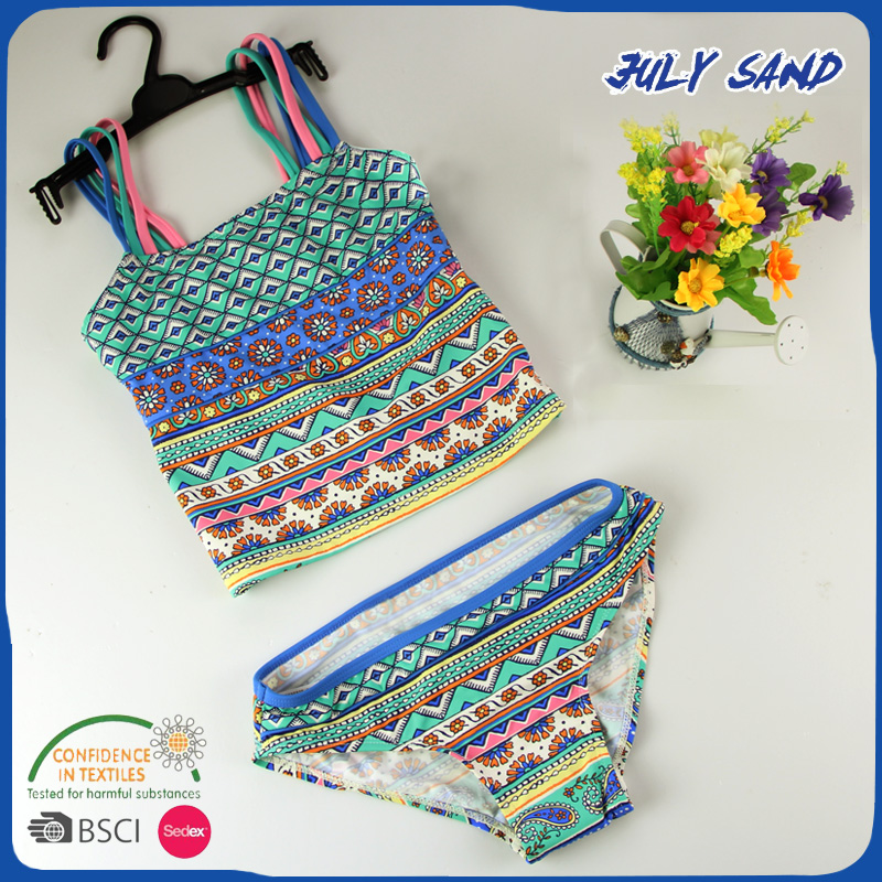 JULY SAND Girl's  Swimwear Children Swimsuit High Waisted Baby Bathing Suit For Kids Baby Girls Tankini Children 3-12Y Swimwear