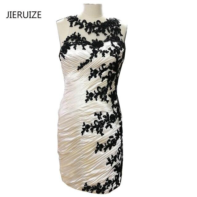 dbc4b4dbb5 JIERUIZE Champagne Black Lace Aplikacje Krótki matka panny Młodej Suknie  Plisowane Krótkie Suknie Wieczorowe Sukienki Wizytowe