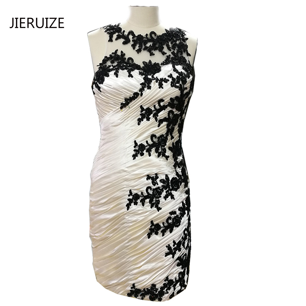 JIERUIZE Champagne Black Lace Appliques Short Mother of the Bride Dresses Pleated Short Evening Dresses Formal Dresses