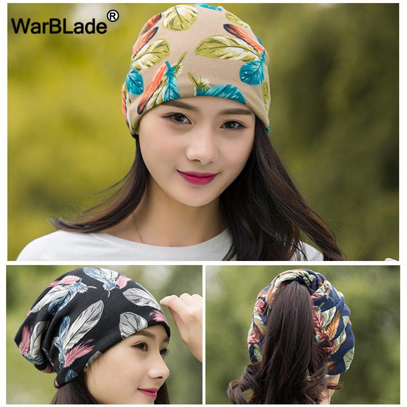 WarBLade Fashion Spring-Autumn Women's Hats Feather Pattern   Beanies   Knitted Hat Female Two Used Cap Scarf   Skullies     Beanies