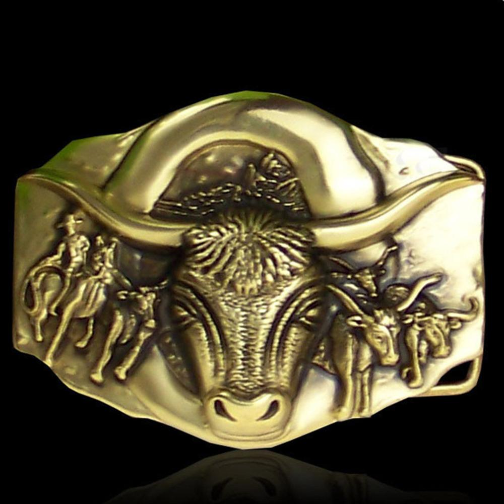 FAJARINA Men's Design 3D Cattle Head Pattern Slide Cowboy Buckles Solid Brass Belt Buckle Only for 3.6-3.9cm Wide Belts BCK029