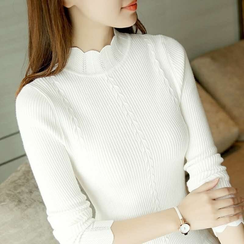 gkfnmt Half Turtleneck Knitted Sweater Female Pink White Gray Pullovers Ladies Top Fashion Casual Women Sweaters Korean Jumper in Pullovers from Women 39 s Clothing