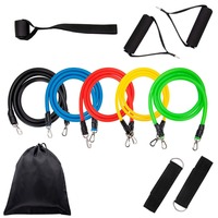 11 Pcs Resistance Band Set Gym Strength Training Rubber Loops Band Workout Fintess Exercise Bands Door Anchor Ankle Strap