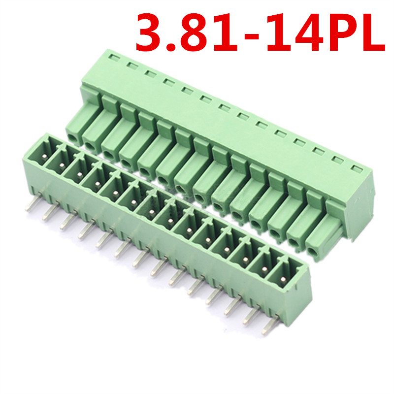 10sets 14 Pin Universal Bend Right Angle Pin Plug-in Type Green Screw Terminal Block Connector 3.81MM 300V Pin header and socket