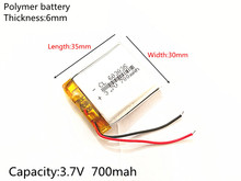 Free Shipping Polymer battery 700 mah 3.7 V 603035 smart home Li-ion battery for dvr GPS mp3 mp4