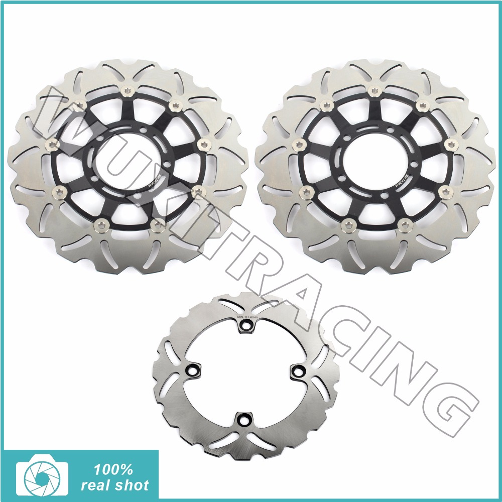 New Full Set Front Rear Brake Discs Rotors for TRIUMPH DAYTONA / R 675 06-16 08 09 10 11 13 14 15 STREET TRIPLE / R 675 07-12 motocycle cnc aluminum rear side mount luggage rack vertical flag pole american for harley touring road king glide
