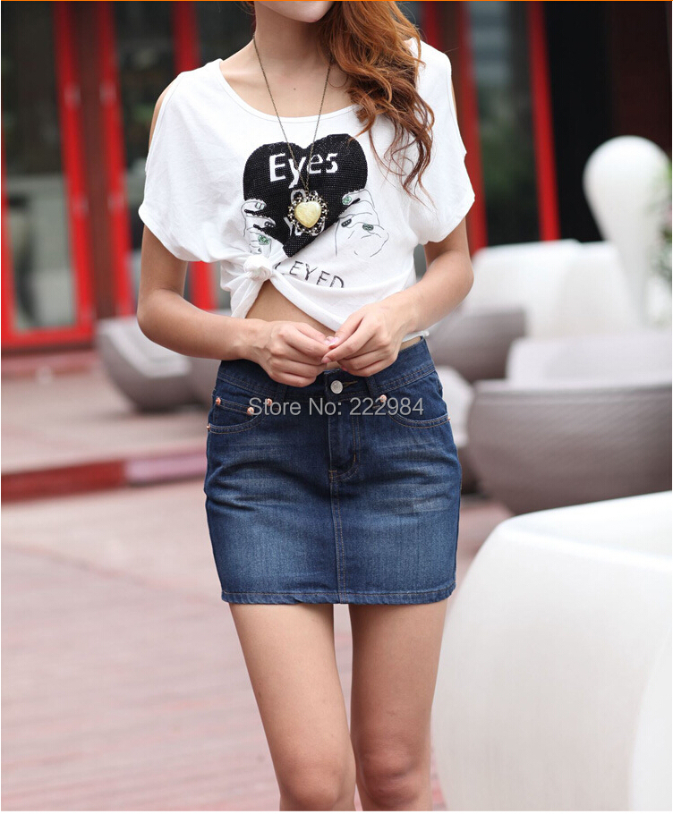 2014 new fashion casual Plus Size middle waist denim skirt woman girl