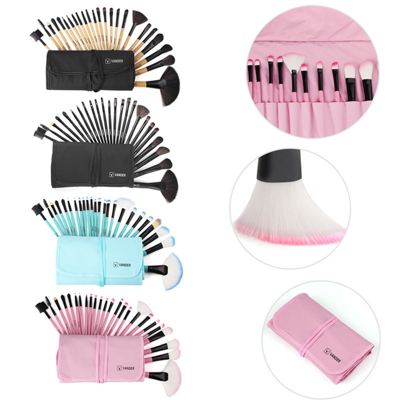 Vander Pro 24Pcs Makeup Brushes Set Travel Facial Beauty Cosmetics kits EyeShadow Powder Soft Make-up Pincel Maquiagem Bag 24pcs beauty makeup brushes set cosmetics foundation eyeshadow eyeliner lipstick make up blush soft brush bag pincel maquiagem