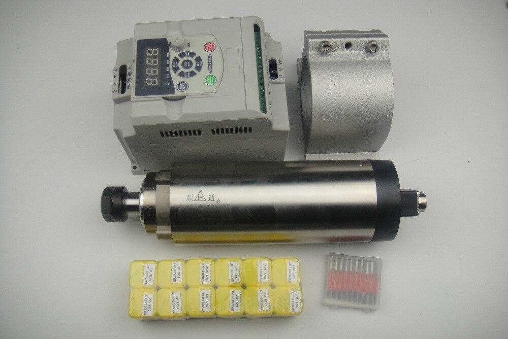 Фрезерные шпинделя ER20 2.2KW воздушного охлаждения шпинделя + 2.2KW VFD инвертор + 1 шт Опора шпинделя + ER20 цанги + ЧПУ Биты для гравировки