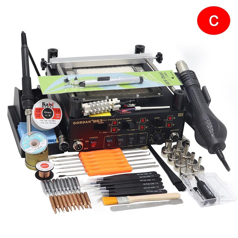 Heat BGA Gun Solder Rework Air Solder Gordak Infrared Soldering 863 Preheating 3 Electric In Iron Hot 1 Station Station IR