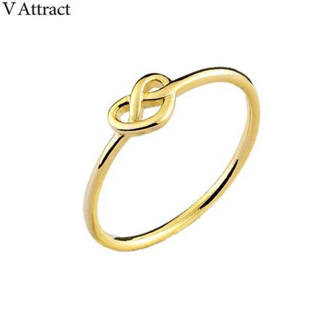 V Attract Delicate Heart Finger Ring Fashion Wedding Jewlery Rose Gold  Infinity Love Knot Bague Bridesmaid Gift ea19124879
