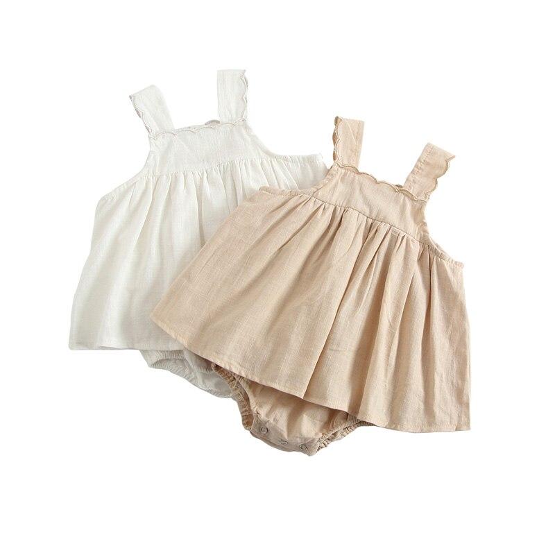 Newborn Infant Dress Romper Jumpsuit Bodysuit Outfits Cotton Soft Sleeveless Summer Toddler Baby Girls Dress DQ899