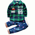 2016 Новый Мальчиков Одежда Устанавливает Весна Детская Одежда Мальчики Устанавливает Клетчатые Рубашки Брюки Набор Детей Мальчик Одежда Casual Спортивный Костюм