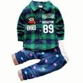 2016 Novos Meninos Do Bebê Conjuntos de Roupas de Primavera Crianças Roupas Meninos Define Calças Camisa Xadrez Conjunto de Roupas Crianças Menino Terno Ocasional