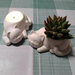Image 5 - Moldes de hormigón para candelabro, moldes de silicona para portavelas, moldes de yeso para maceta de gato